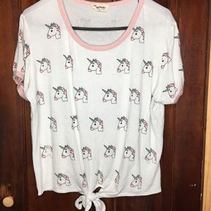 French Pastry unicorn tee shirt with front tie XL